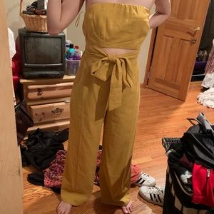 Love Culture Mustard Bell bottom jumpsuit